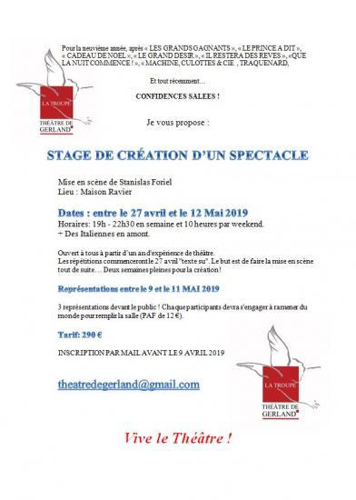 Stage théâtre adultes création d'un spectacle
