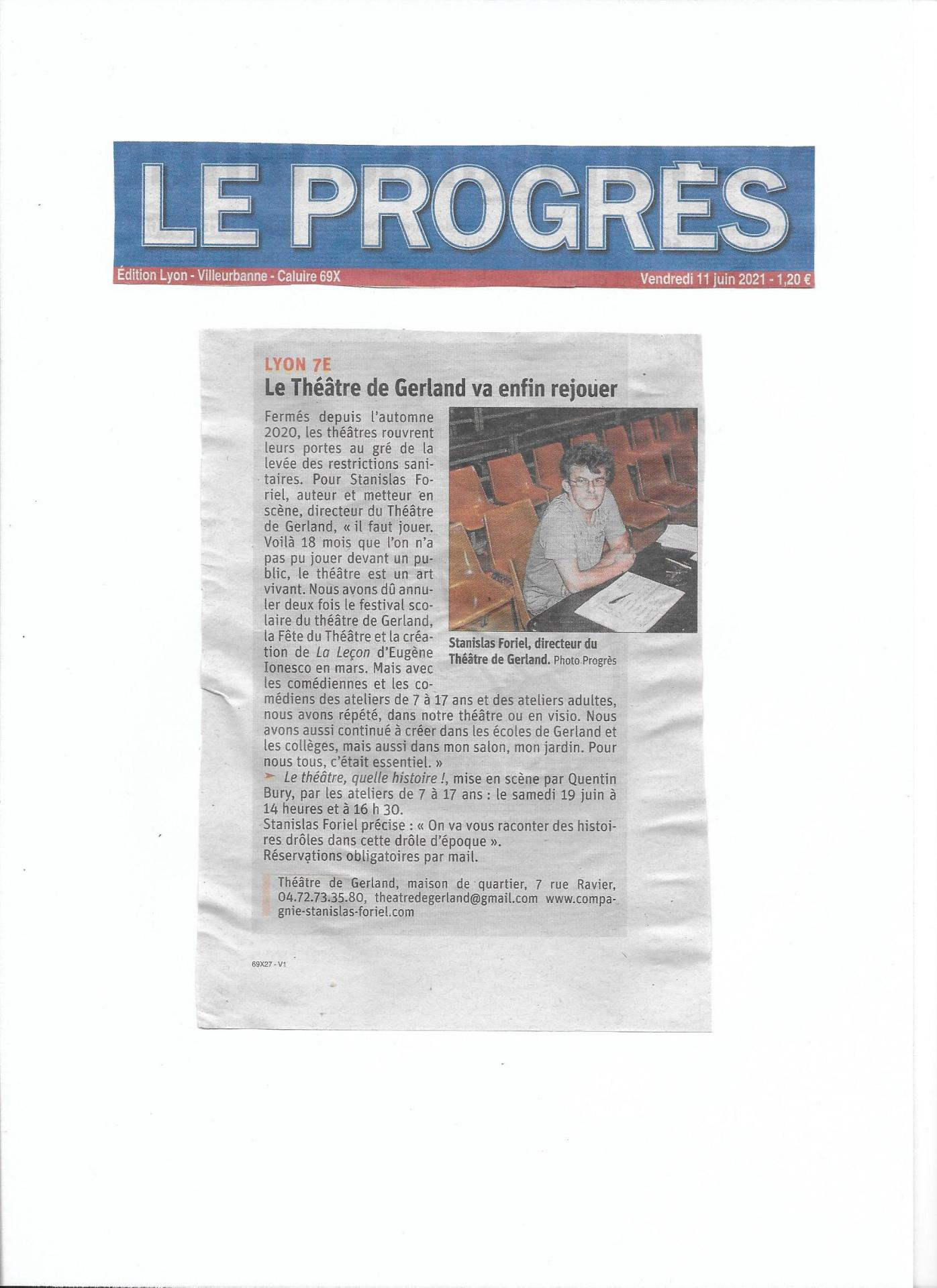 Article progres le theatre de gerland 11 06 2021